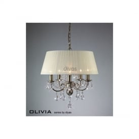 IL30048 Olivia 5 Lt Antique Brass Crystal Pendant With Ivory Shade