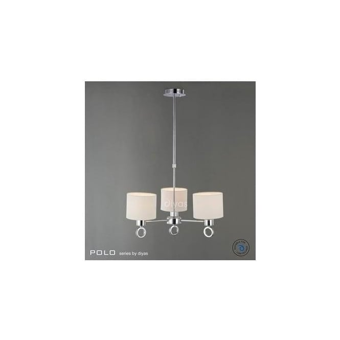 Diyas Lighting IL30053 Polo 3 Light Chrome Pendant With White Shades