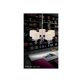 IL30055 Polo 5 Light Chrome Pendant With White Fabric Shades