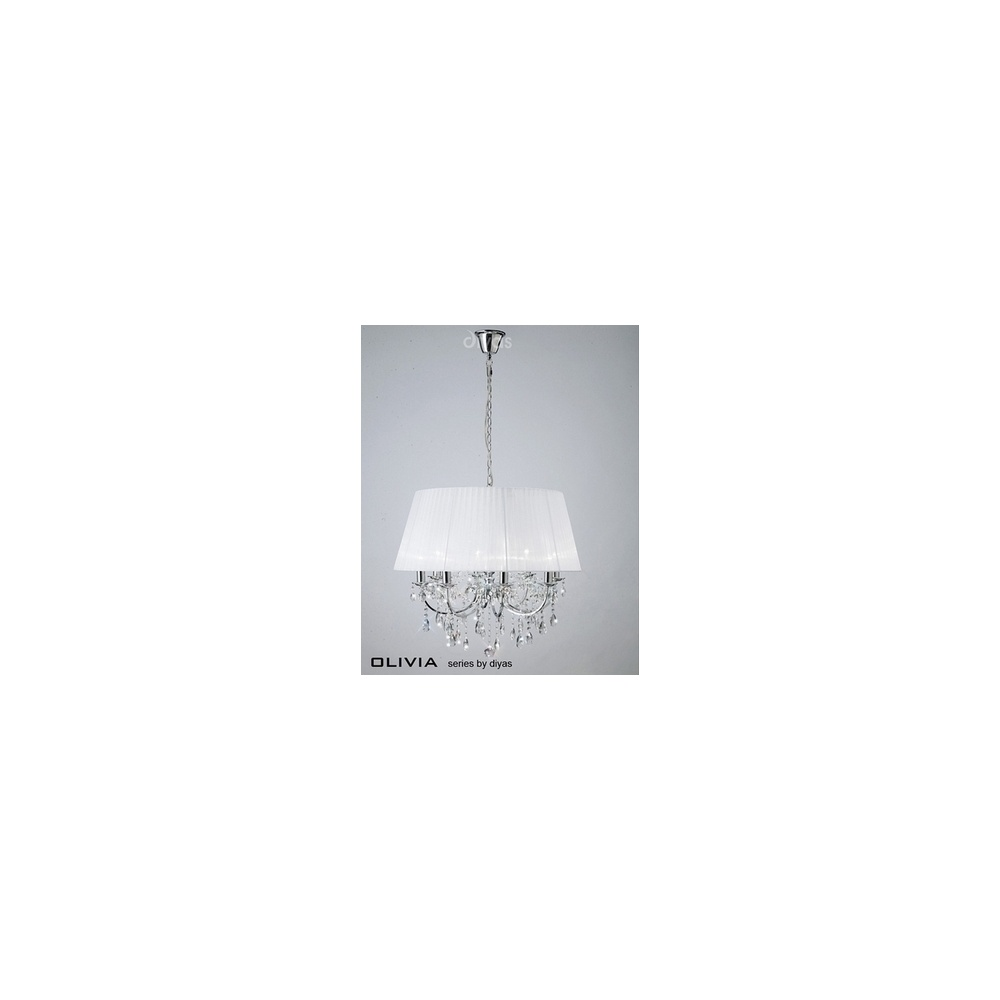 IL30056WH Olivia 8 Light Pendant In Chrome With White Shade