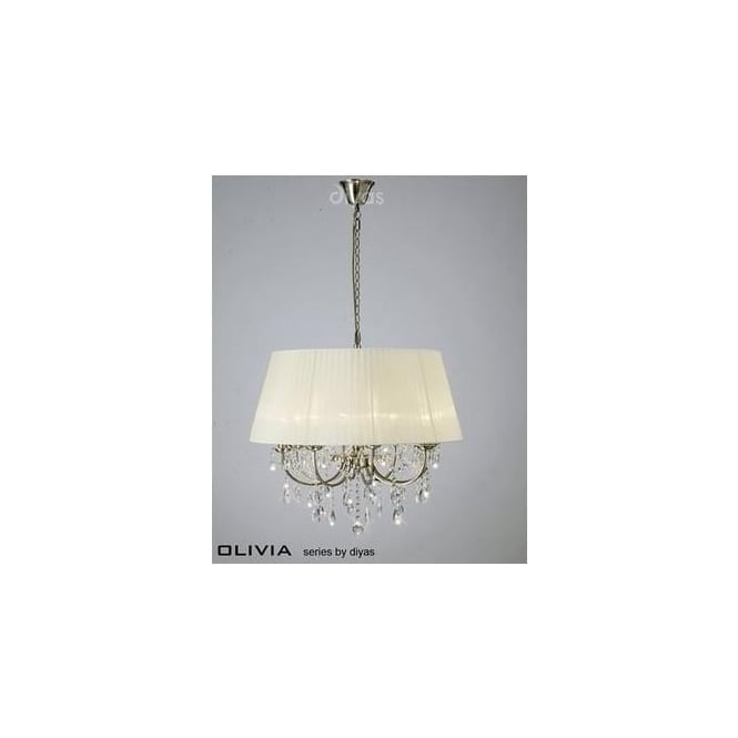 Diyas Lighting IL30057CR Olivia 8 Light Pendant in Antique Brass with Ivory Shade