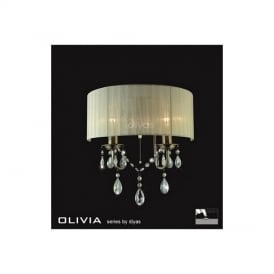 IL30064CR Olivia Antique Brass 2 Light Wall Bracket with Cream Shade