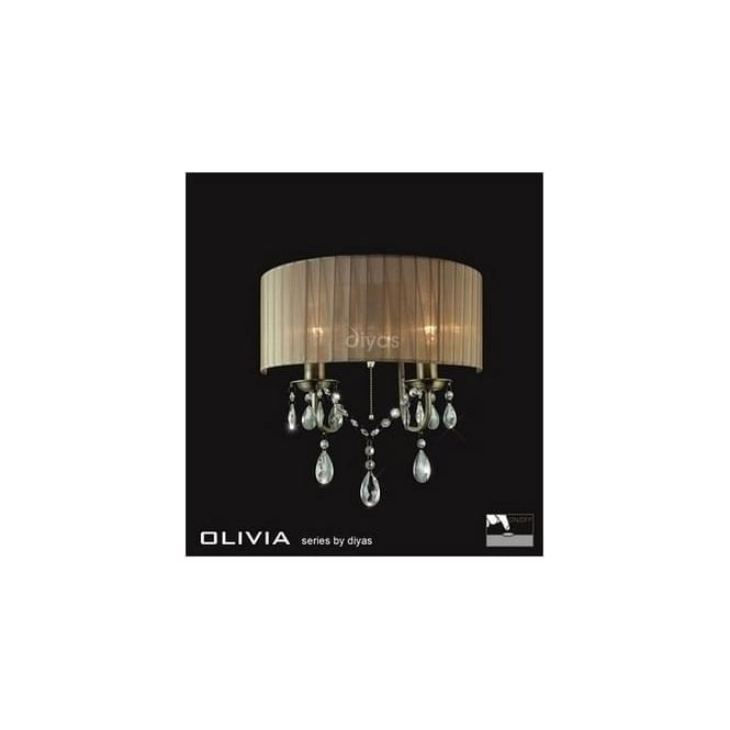 Diyas Lighting IL30064SB Olivia Antique Brass 2 Light Wall Bracket with Soft Bronze Shade