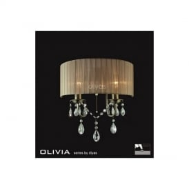 IL30064SB Olivia Antique Brass 2 Light Wall Bracket with Soft Bronze Shade