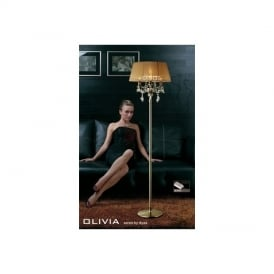IL30066SB Olivia Antique Brass 3 Light Floor Lamp with Soft Bronze Shade