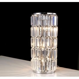 IL30073 Torre 3 Light Chrome And Crystal Table Lamp