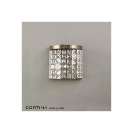 IL30091 Cortina 2 Light Antique Brass Crystal Wall Lamp