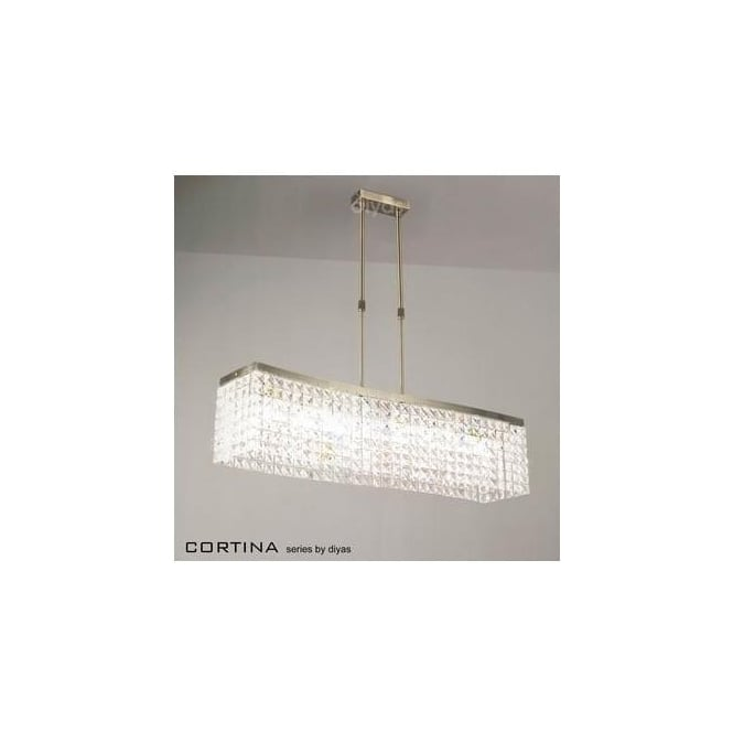 Diyas Lighting IL30095 Cortina 8 Light Antique Brass Crystal Pendant
