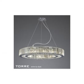 IL30099 Torre 10 Light Chrome/Crystal Round Ceiling Pendant