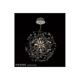 IL30171 Messe 17 Chrome And Crystal Ceiling Pendant