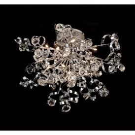 IL30182 Kurlz 15 Light Chrome And Crystal Semi-Flush Ceiling Lamp