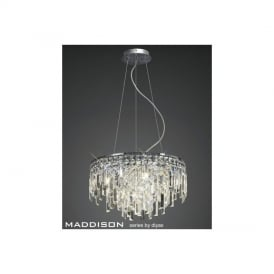IL30254 Maddison 6 Light Chrome & Crystal Ceiling Pendant