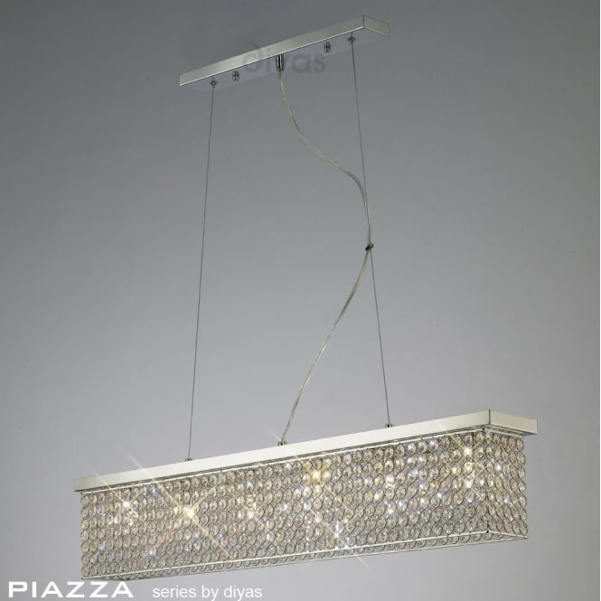 Diyas Lighting IL30433 Piazza 6 Light Chrome & Crystal Ceiling Pendant