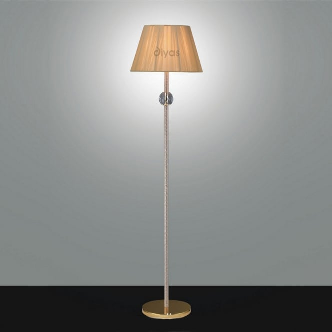 Diyas Lighting IL30620 Elena Gold And Crystal Cloth Floor Lamp Only