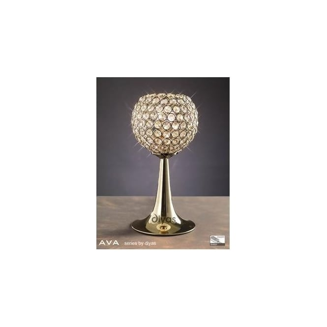 Diyas Lighting IL30755 Ava 2 Light French Gold Crystal Table Lamp