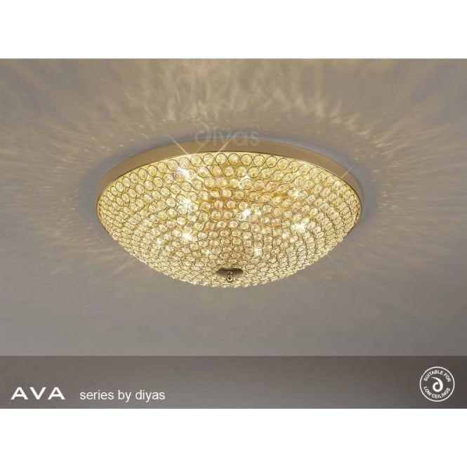 Diyas Lighting IL30757 Ava 6 Light French Gold & Crystal Ceiling Light