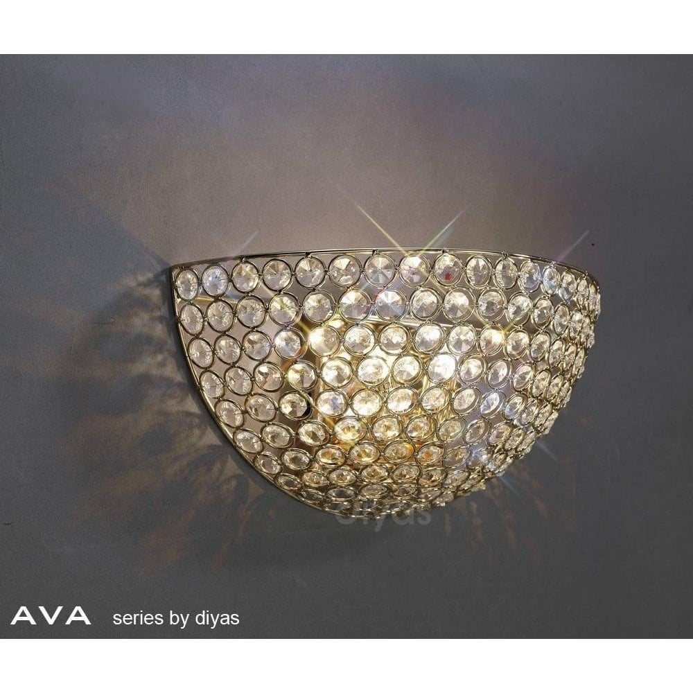 Il30758 Ava 2 Light French Gold Crystal Wall