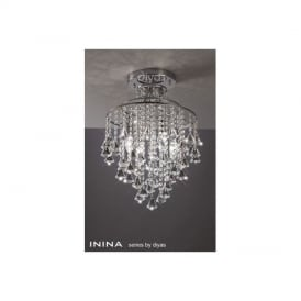 IL30770 Inina 4 Light Polished Chrome and Crystal Ceiling Light