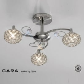 IL30933 Cara Satin Nickel 3 Light Flush Ceiling Light