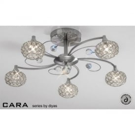 IL30935 Cara Satin Nickel 5 Light Ceiling Light