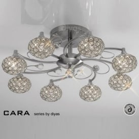 IL30938 Cara Satin Nickel 8 Light Flush Ceiling Light