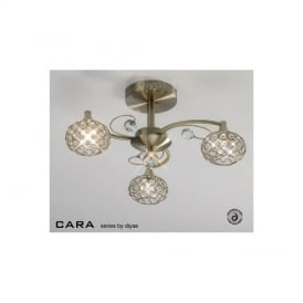 IL30943 Cara Antique Brass 3 Light Flush Ceiling Light