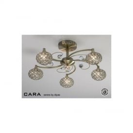 IL30945 Cara Antique Brass 5 Light Flush Ceiling Light