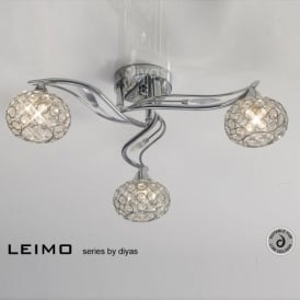 IL30953 Leimo 3 Light Chrome Flush Ceiling Light