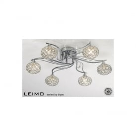 IL30956 Leimo 6 Light Chrome Flush Ceiling Light