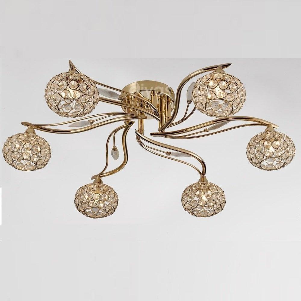 Il30966 leimo 6 light french gold flush ceiling light