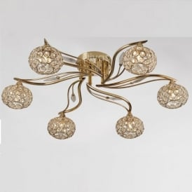 IL30966 Leimo 6 Light French Gold Flush Ceiling Light
