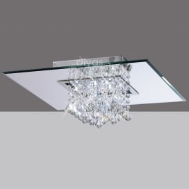 IL31008 Starda 8 Light Flush Square Chrome Ceiling Light
