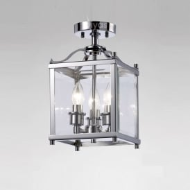 IL31100 Aston 3 Light Chrome Ceiling Lantern