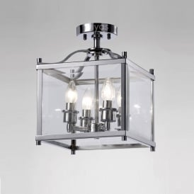 IL31101 Aston 4 Light Chrome Ceiling Lantern