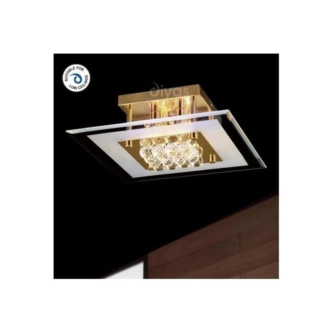 Diyas Lighting IL32023 Delmar 4 Light Gold And Crystal Flush Ceiling Lamp