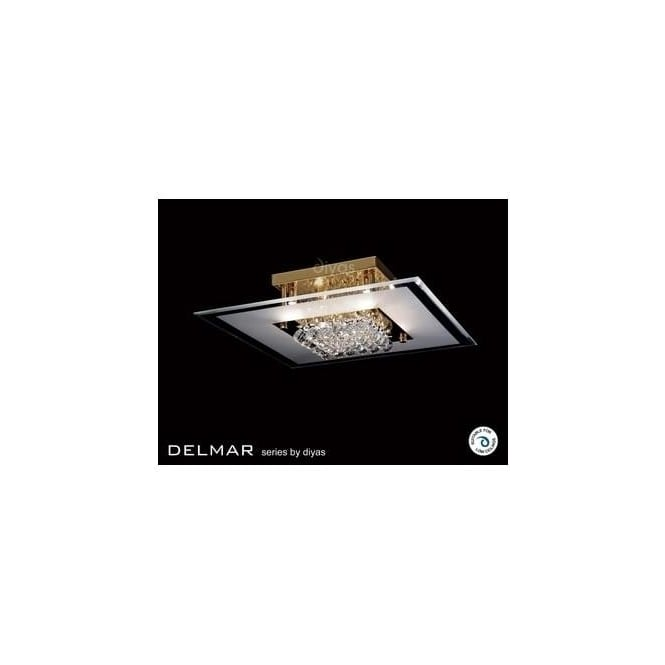 Diyas Lighting IL32024 Delmar 6 Light Gold And Crystal Flush Ceiling Lamp