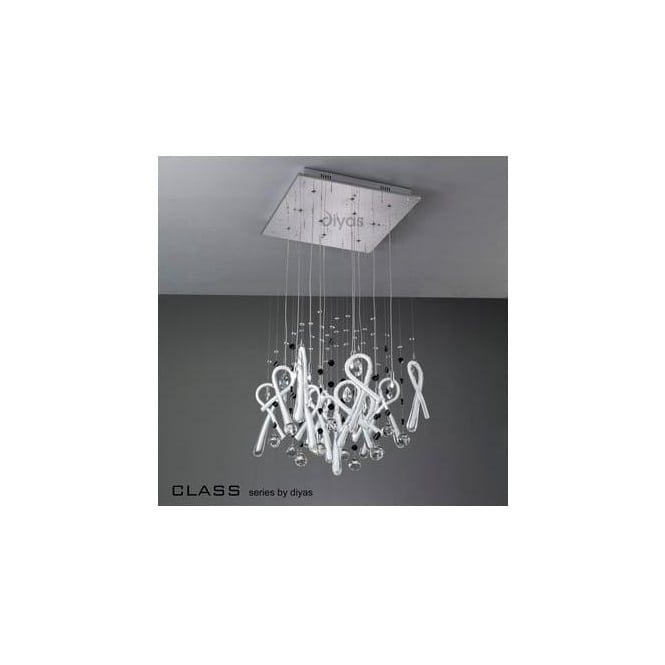 Diyas Lighting IL50404 Class White Glass And Crystal 10 Light Pendant