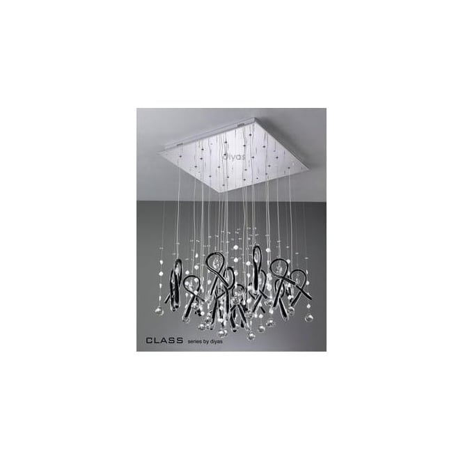 Diyas Lighting IL50407 Class Black Glass And Crystal 20 Light Pendant