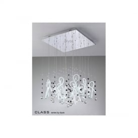 IL50408 Class White Glass And Crystal 20 Light Pendant