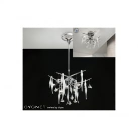 IL50411 Cygnet 10 Light Crystal And White Glass Semi-Flush Pendant