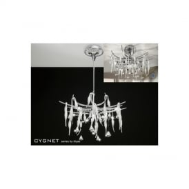 IL50413 Cygnet 12 Light Crystal And White Glass Semi-Flush Pendant