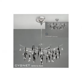 IL50416 Cygnet 12 Light Crystal And Black Glass Semi-Flush Pendant
