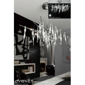 IL50417 Cygnet 12 Light Crystal And White Glass Semi-Flush Pendant