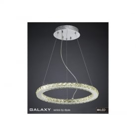 IL80036 Galaxy LED Small Round Chrome & Crystal Pendant