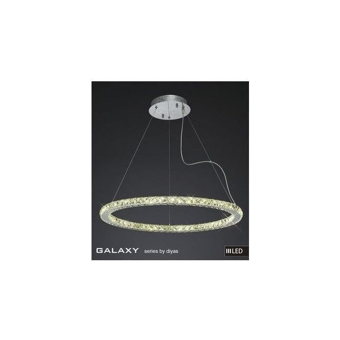 Diyas Lighting IL80037 Galaxy LED Large Round Chrome & Crystal Pendant