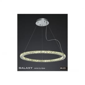 IL80037 Galaxy LED Large Round Chrome & Crystal Pendant