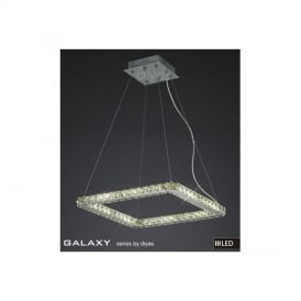 IL80038 Galaxy LED Small Square Chrome & Crystal Pendant