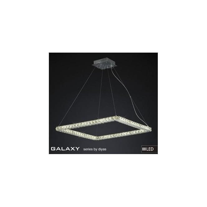 Diyas Lighting IL80039 Galaxy LED Large Square Chrome & Crystal Pendant