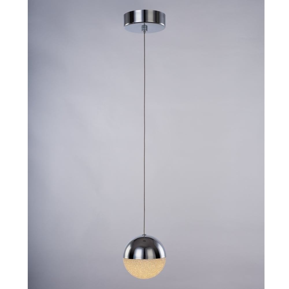 Eclipse Modern Single Ceiling Pendant Light In Chrome Finish MD14003057 1A CHR