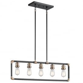 Imahn Industrial Linear Ceiling Chandelier In Black And Natural Brass KL/IMAHN/ISLE
